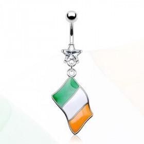 Piercing nombril acier chirurgical pendentif drapeau pay Irlande