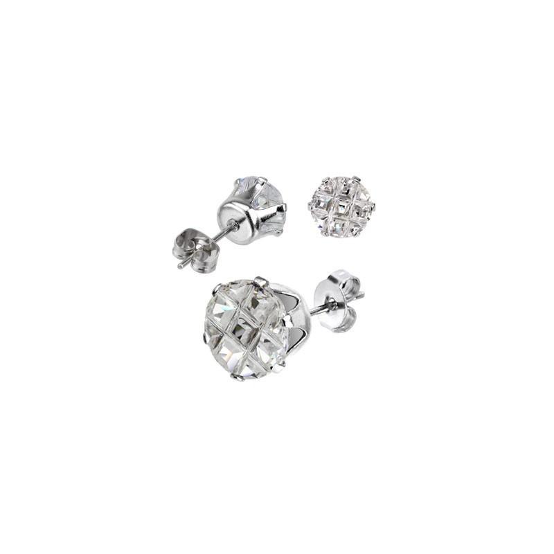 Boucle d'oreille acier chirurgical haute qualité ronde cristal blanc taillé en facette