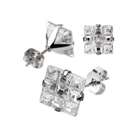 Boucle d'oreille acier chirurgical cristal carrée