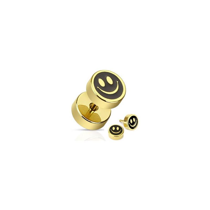 Piercing oreille faux plug Smiley doré imitation écarteur en acier chirurgical