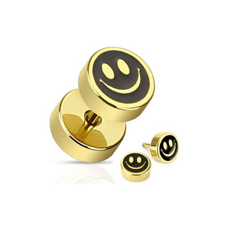 Piercing oreille faux plug Smiley doré