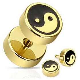 Faux piercing plug doré yin yang faux écarteur