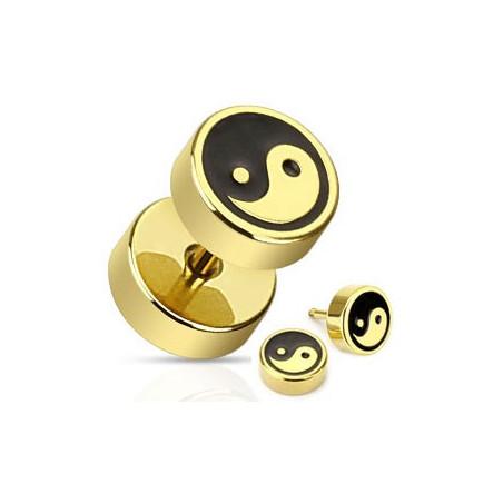 Faux piercing plug doré yin yang