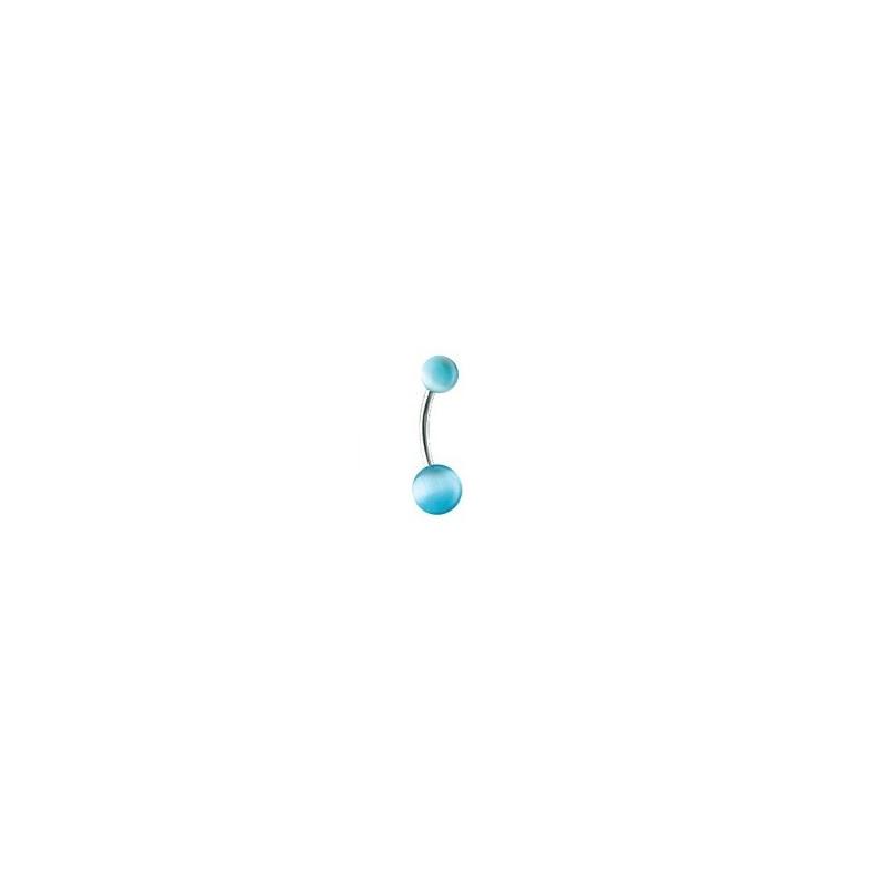 Piercing nombril Oeil de Chat couleur bleu turquoise