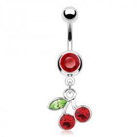 Piercing nombril pendentif acier chirurgical motin cerise articulé zirconium rouge