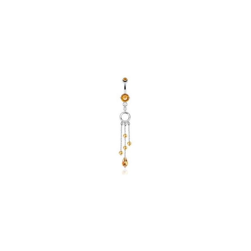 piercing nombril en acier chirurgical glamour long cristaux chaine pendent cristal topaze jaune