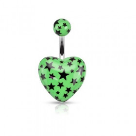Piercing nombril barre acier chirurgical motif coeur vert fluo motif imprimé étoile