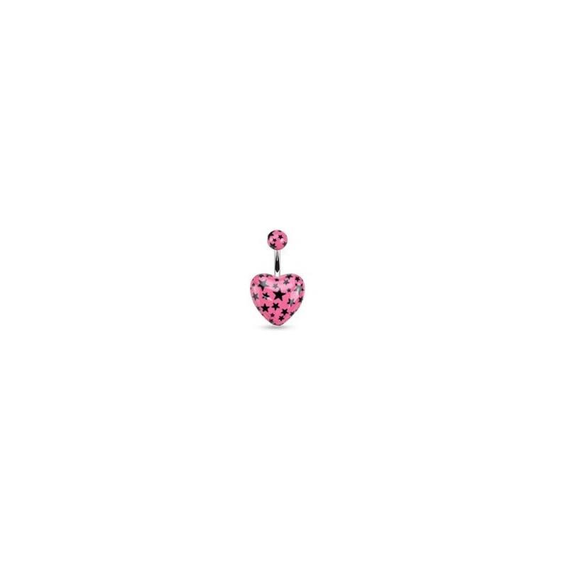 Piercing nombril barre acier chirurgical motif coeur couleur rose motif imprimé étoile