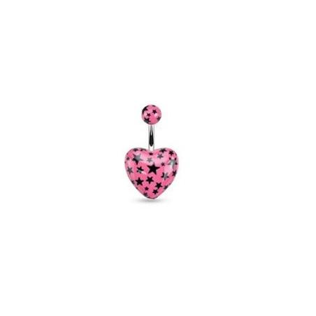 Piercing nombril coeur rose imprimé étoile