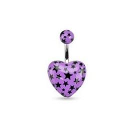 Piercing nombril barre acier chirurgical motif coeur couleur violet motif imprimé étoile