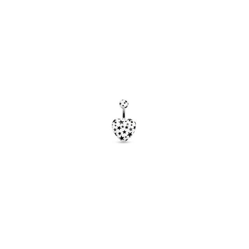 Piercing nombril barre acier chirurgical motif coeur couleur blanc motif imprimé étoile