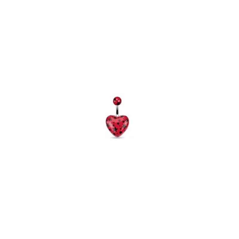 Piercing nombril barre acier chirurgical motif coeur couleur rouge motif imprimé étoile