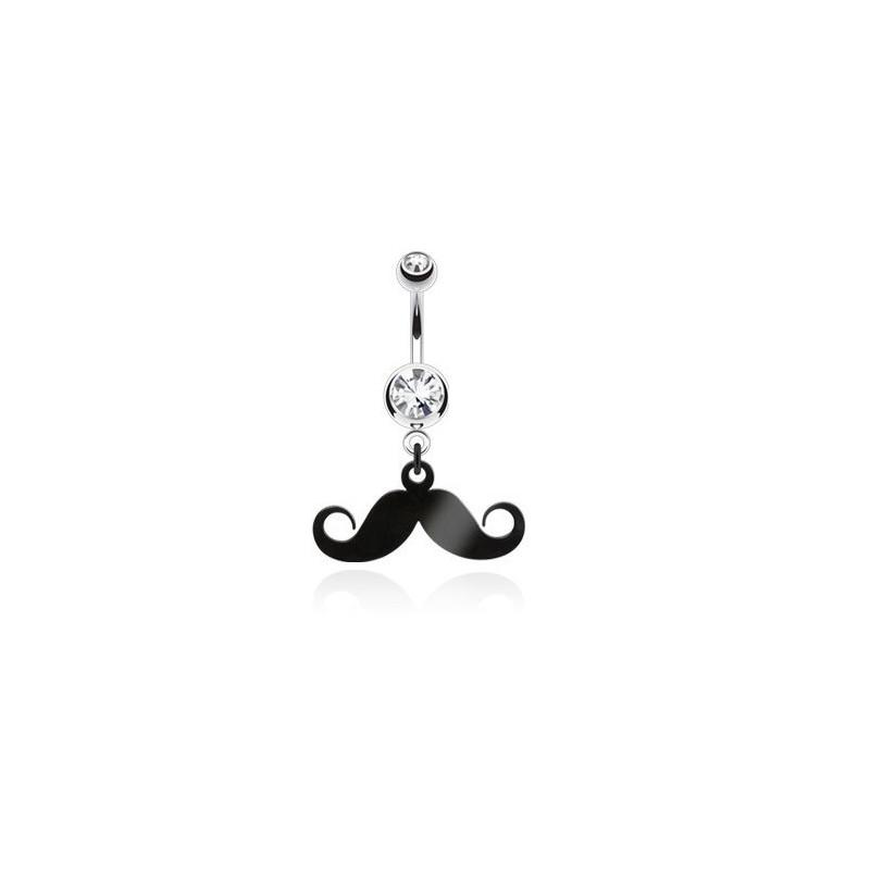 Piercing nombril acier chirurgical pendentif moustache articulé noir cristal blanc