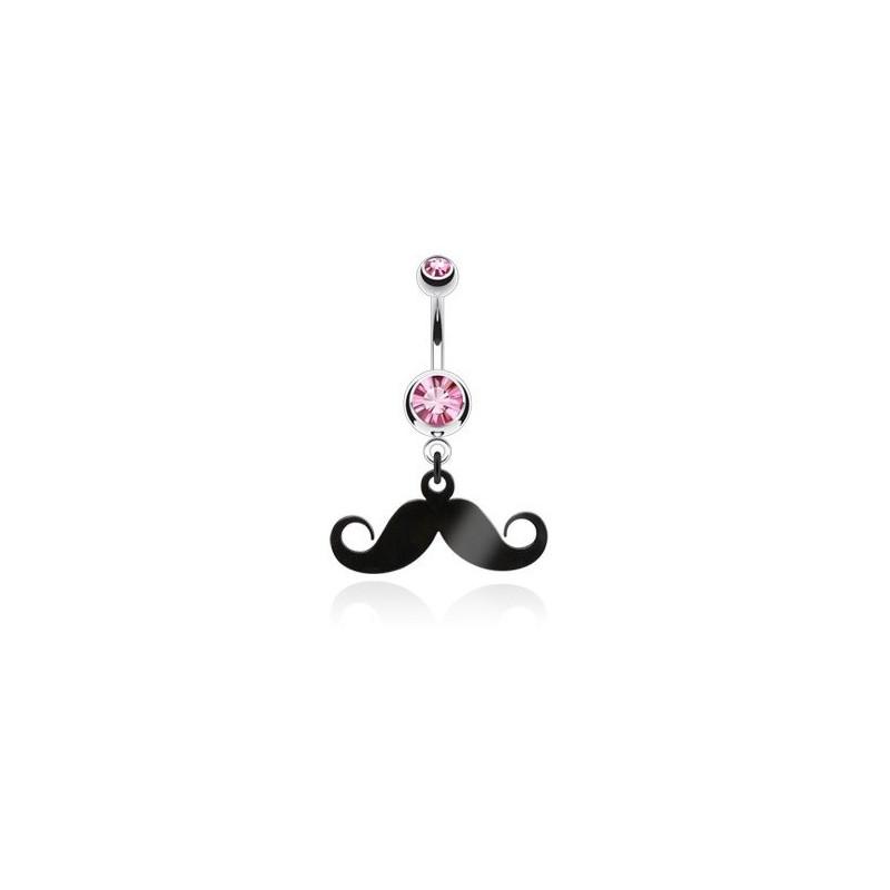 Piercing nombril acier chirurgical pendentif moustache articulé noir cristal rose