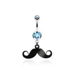 Piercing nombril pendentif moustache cristal Bleu