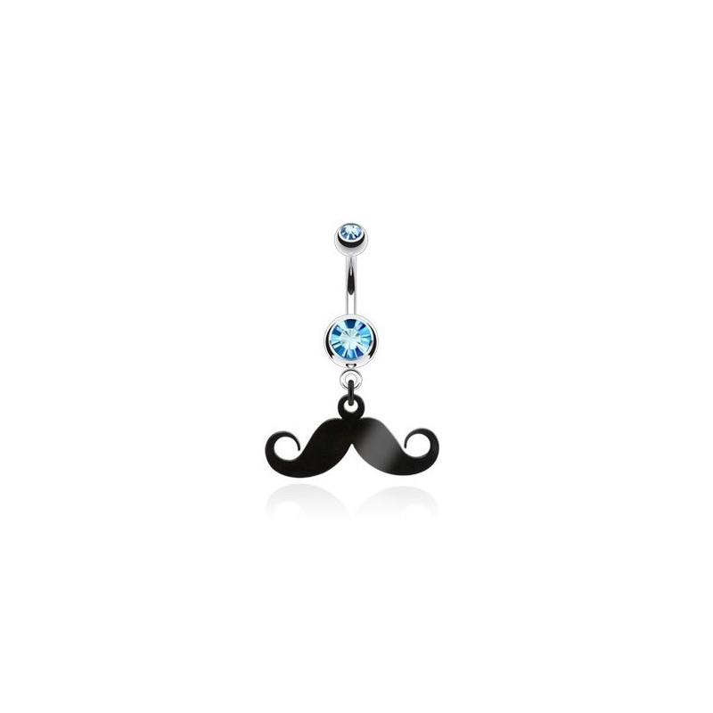 Piercing nombril acier chirurgical pendentif moustache articulé noir cristal bleu turquoise