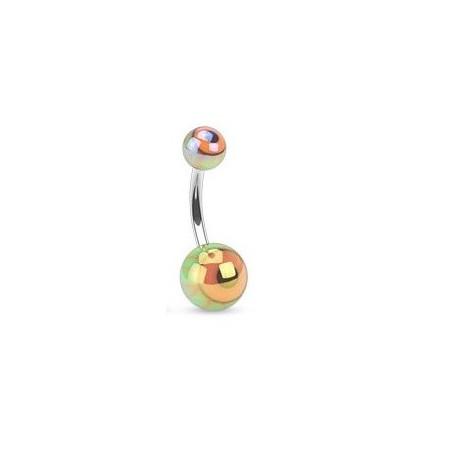Piercing nombril bille motif oeil vert
