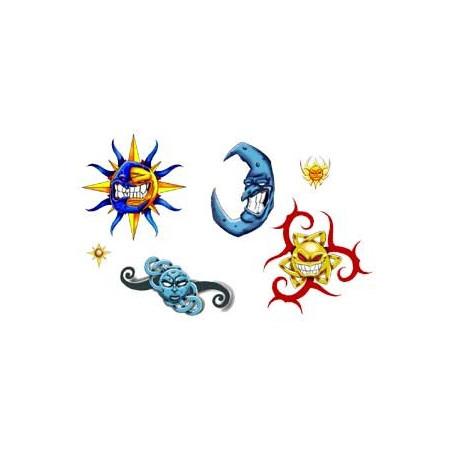 Planche Tattoos autocollants Soleil et lune