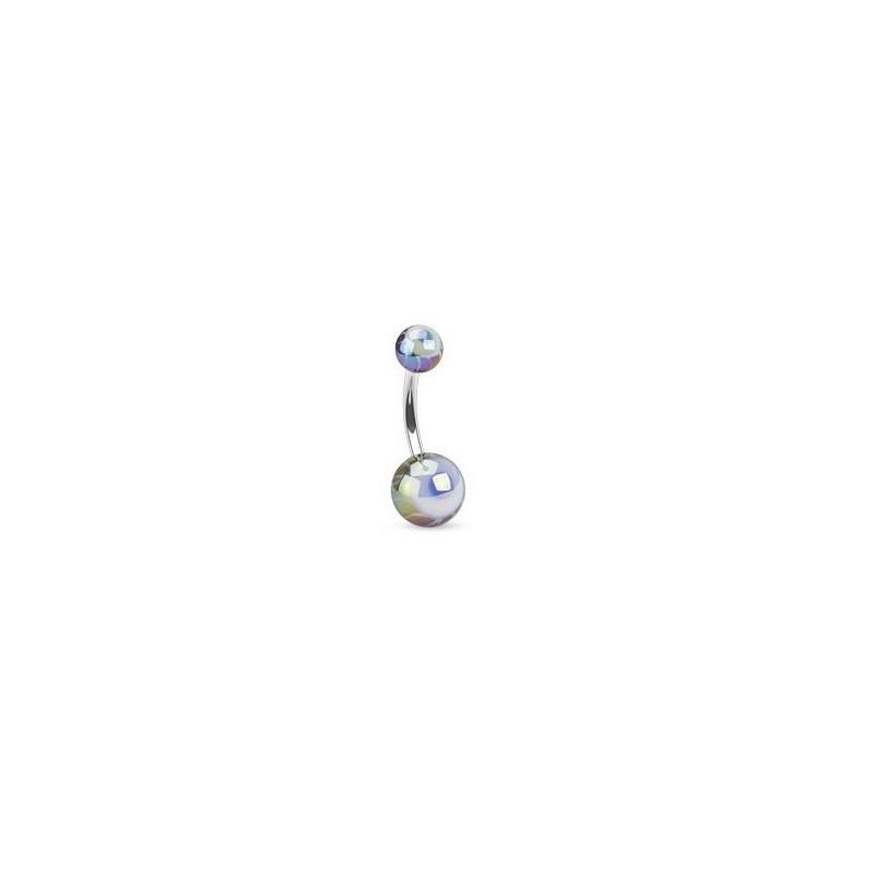 Piercing nombril berre en cier chirurgical motif bille en forme d oeil de couleur noir