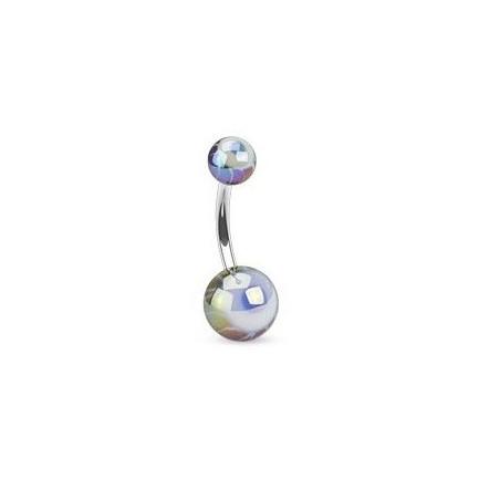 Piercing nombril bille motif oeil noir