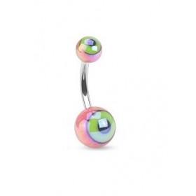 Piercing nombril berre en cier chirurgical motif bille en forme d oeil de couleur rose