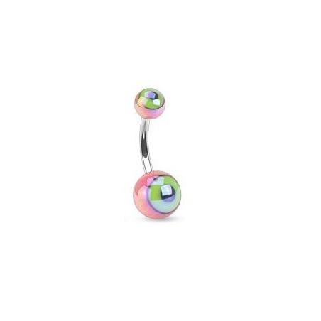 Piercing nombril bille motif oeil rose