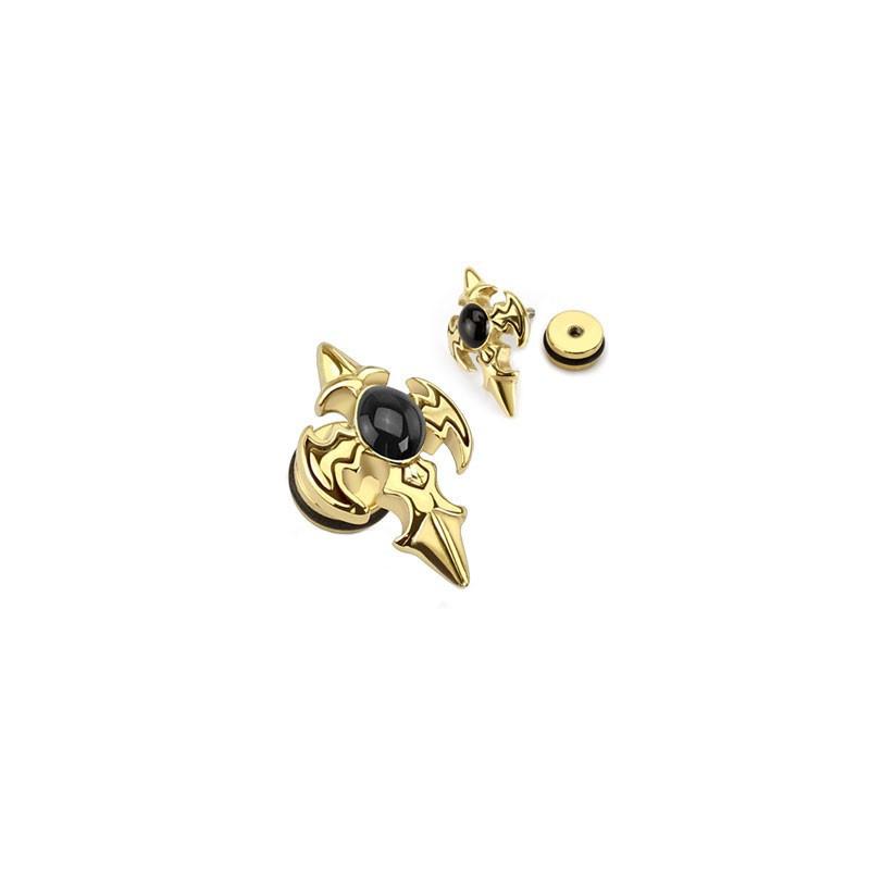 Piercing oreille faux plug doré Croix tribal imitation écarteur