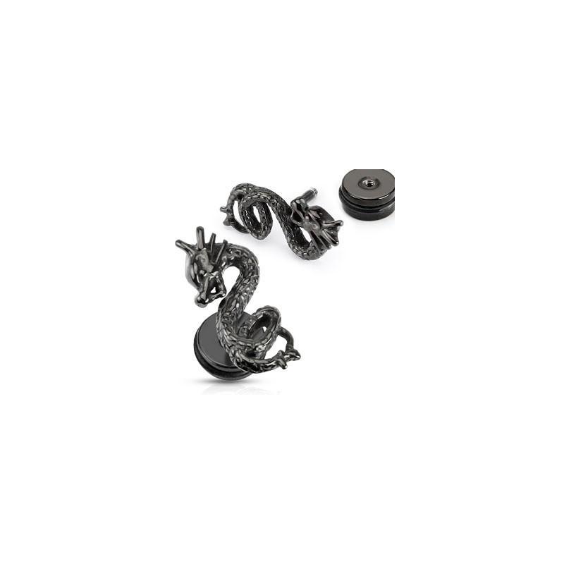 Faux piercing oreille imitation plug motif Dragon acier couleur noir
