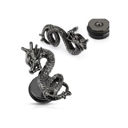 Faux piercing oreille plug Dragon noir
