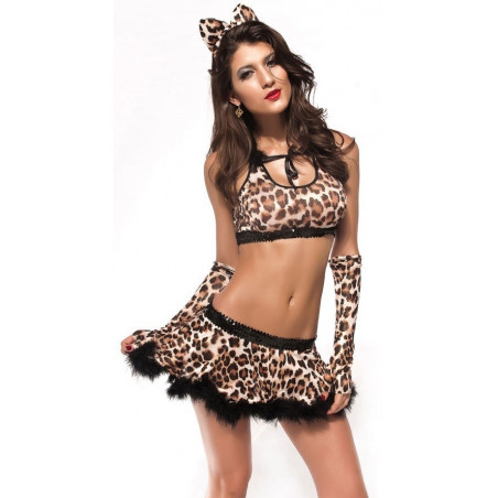Costume sexy Léopard 4 pièce