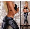 Leggings couleur jeans noir extensible pas cher pour femme marque Tarawa