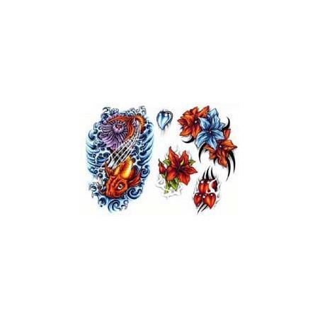 Tattoo autocollant Poissons et Fleur