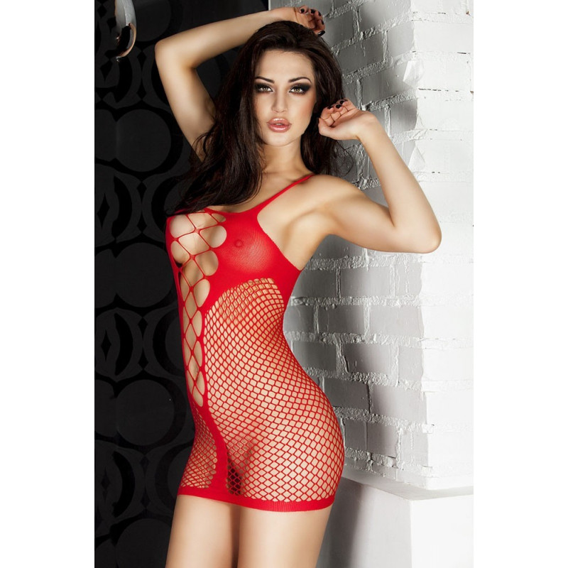 Robe sexy en resille rouge por femme nuisette glamour rouge