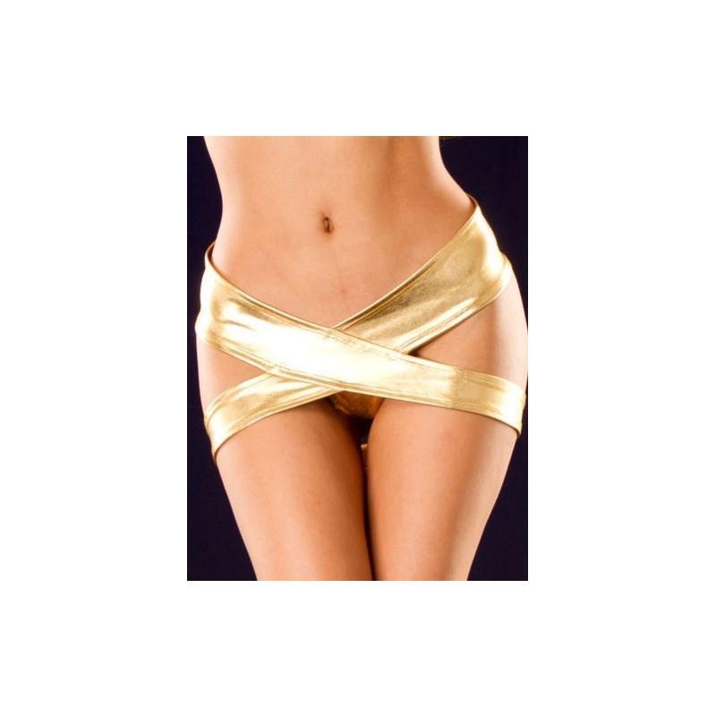 Culotte croisés métallique vinyle or vêtement marque Tarawa