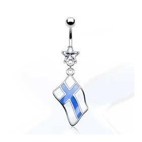 Piercing nombril acier chirurgical pendentif drapeau pay de la Finlande