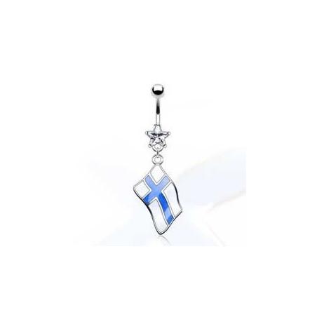 Piercing nombril pendentif drapeau Finlande