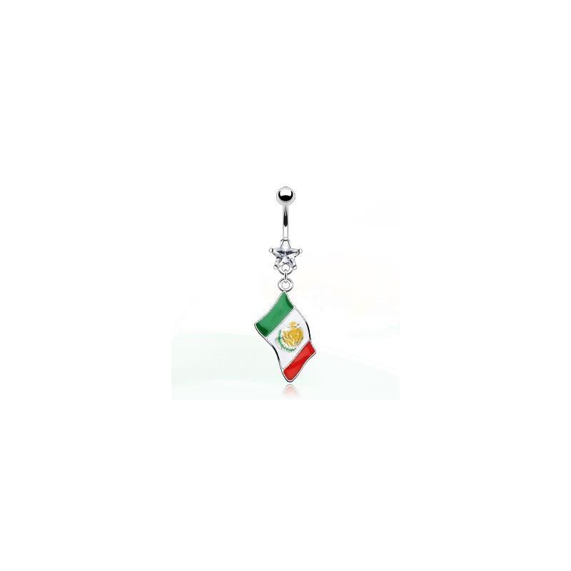 Piercing nombril pendant drapeau pay Méxique