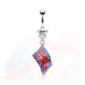 Piercing nombril pendentif drapeau pay royaume unis