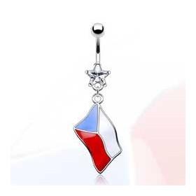 Piercing nombril pendentif drapeau République Tchèque