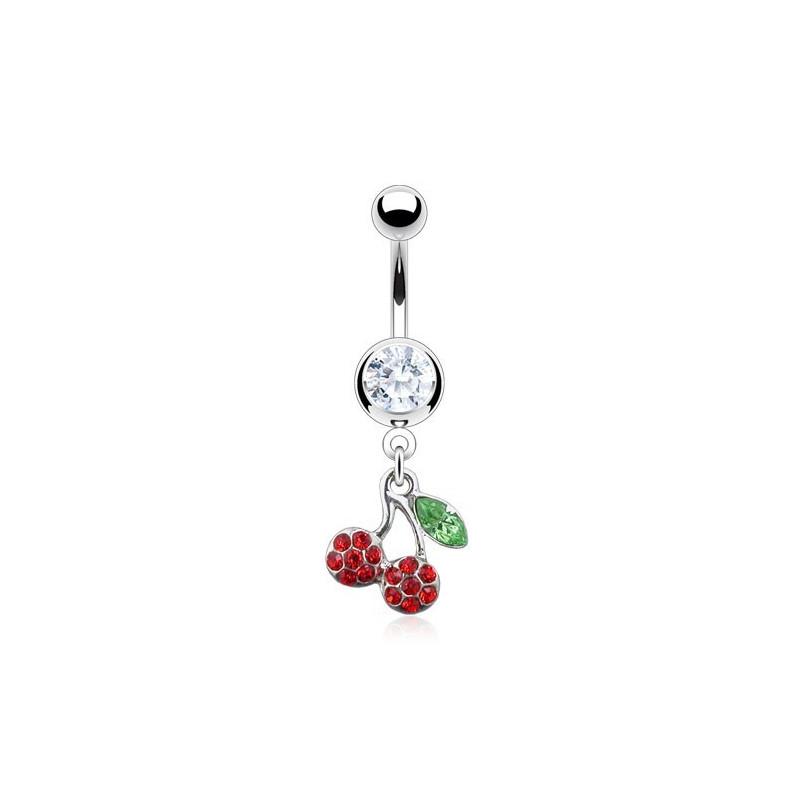 Piercing nombril acier chirurgical pendenti cerise rouge multi cristal