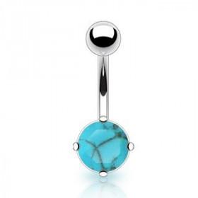 Piercing nombril pierre naturel semi-précieuse turquoise discret griffée