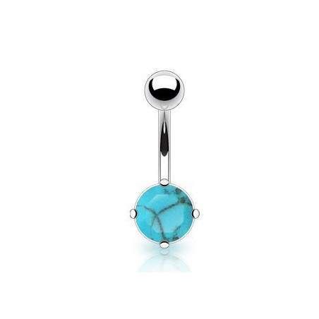 Piercing nombril pierre naturel turquoise