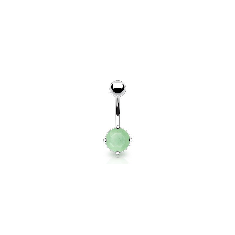 Piercing nombril acier chirurgical Pierre naturel semi-précieuse Jade véritable