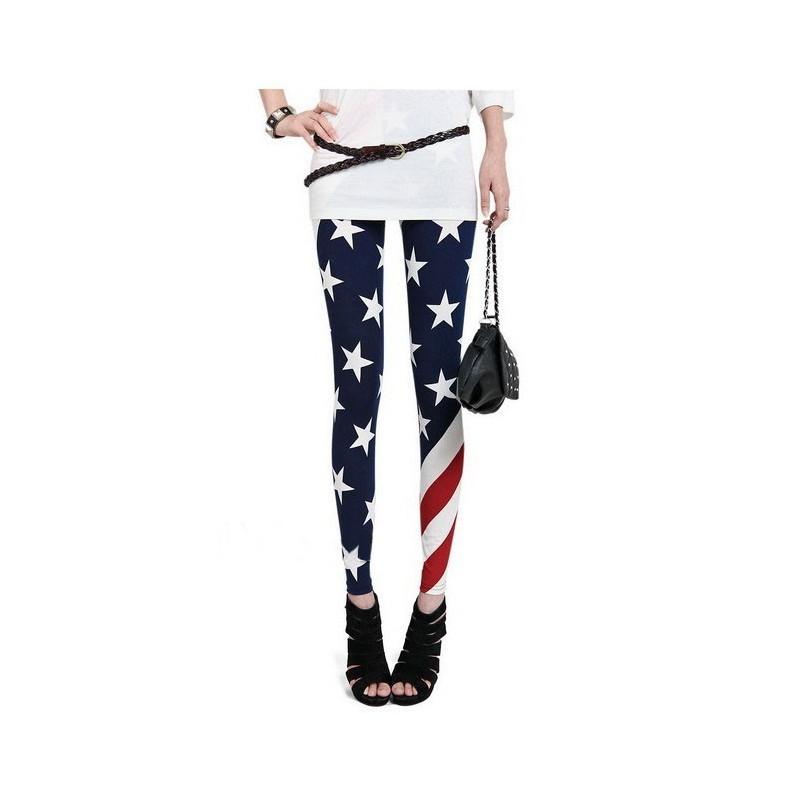 Leggings drapeau américaine leggings femme taille unique extensible pas cher
