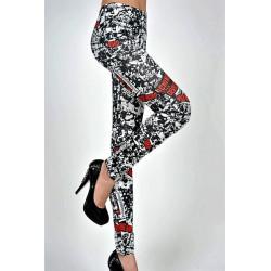 Leggings blanc motif noir pour femme