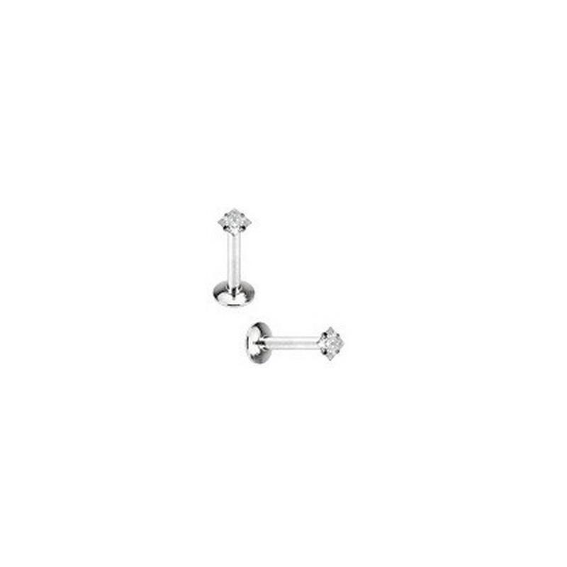 Piercing labret acier cristal carré blanc 3 mm pas cher