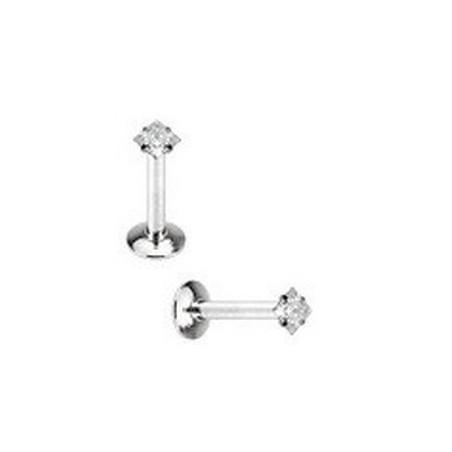 Piercing labret acier cristal carré blanc 3 mm