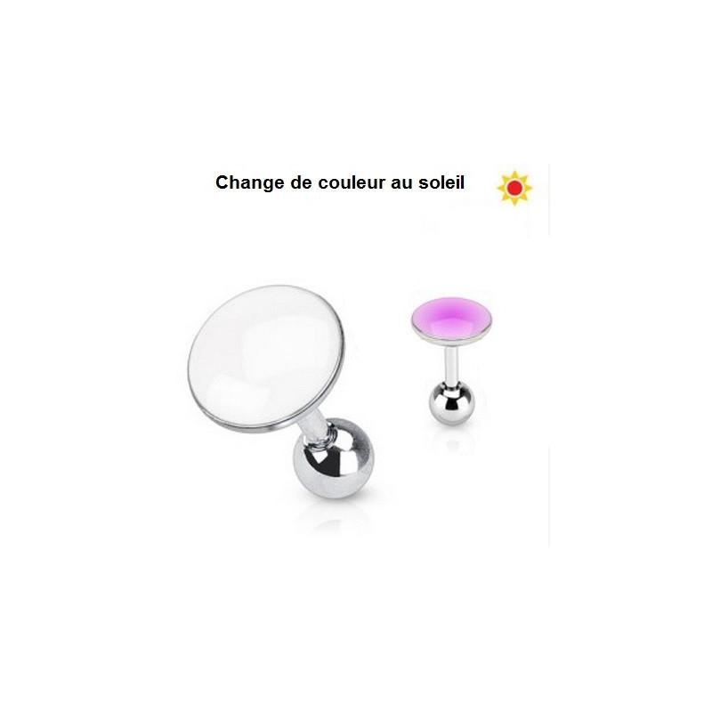 Piercing oreille réactif au soleil couleur rose interchangeable pour piercing hélix, tragus et cartilage