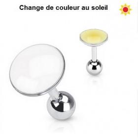 Piercing oreille réactif au soleil couleur jaune interchangeable pour piercing hélix, tragus et cartilage