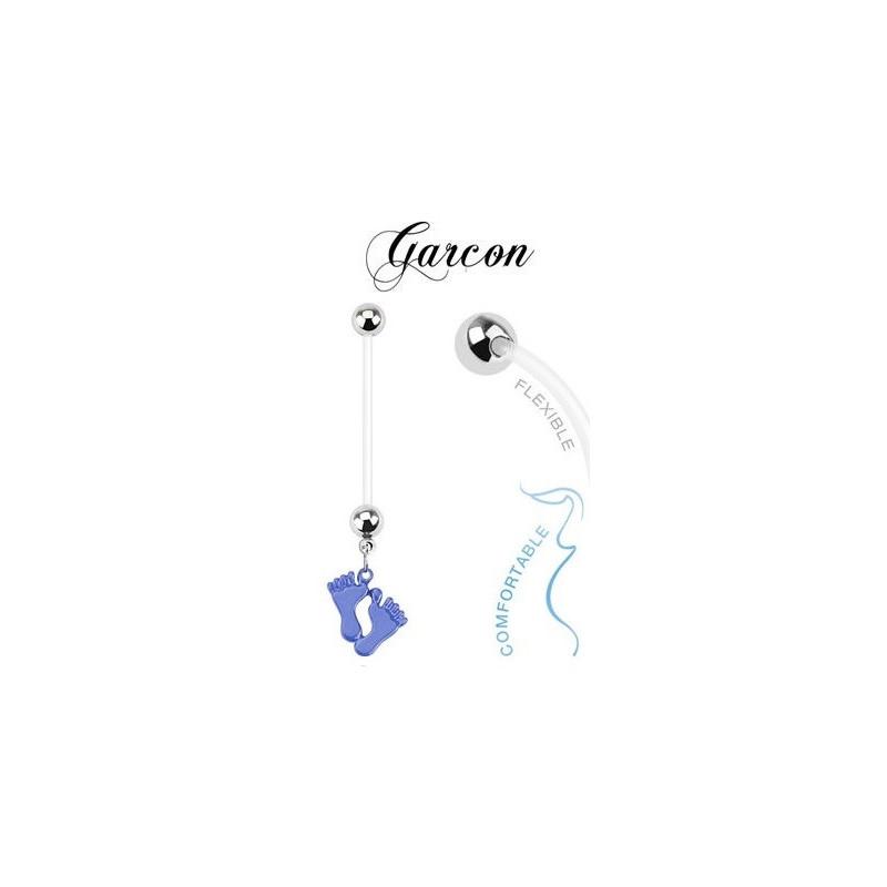 Piercing nombril de grossesse bioflex motif pied couleur bleu bébé garçon